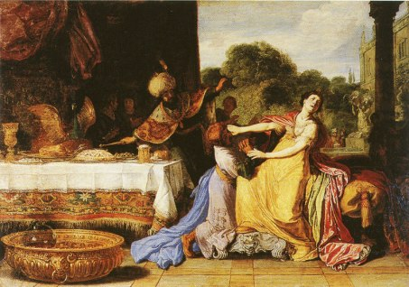 Haman Begging Queen Esther for Mercy 1618 - Muzeum Narodowe Warsaw